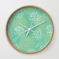 Pastel Peony and Leaf Pattern Design  Wall Clock
