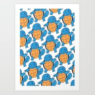 1 Squirtle, 2 Squirtle,… Art Print