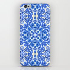 Cobalt Blue & China White Folk Art Pattern iPhone & iPod Skin