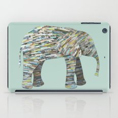 Elephant Paper Collage in Gray, Aqua and Seafoam iPad Case