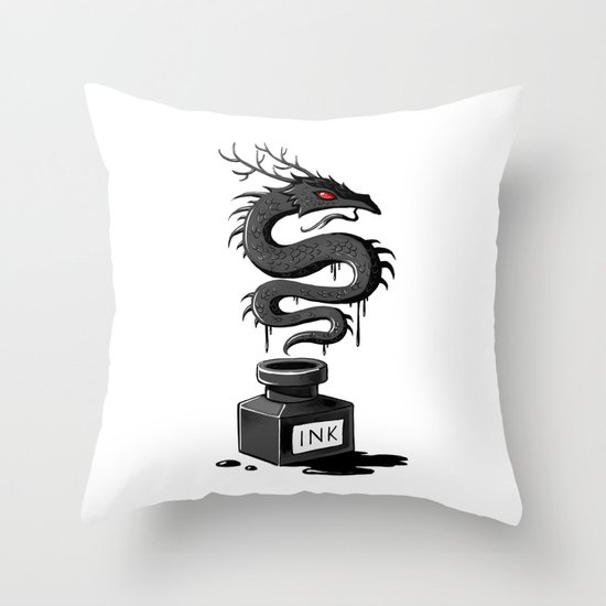 Ink Dragon Throw Pillow