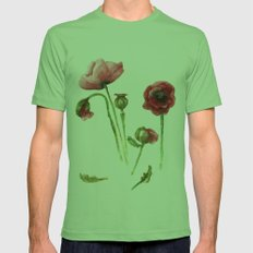 Red Poppies - Botanical Art - watercolor Mens Fitted Tee Grass SMALL