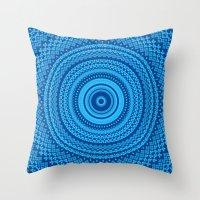 Kaleidoscope Blues Patte… Throw Pillow
