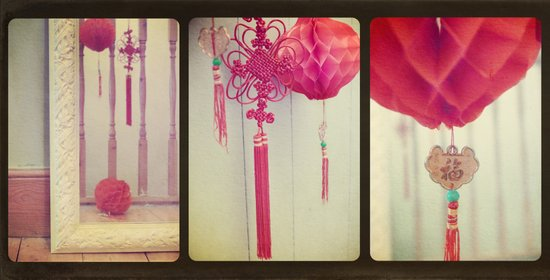 Chinese Lanterns Triptych Art Print