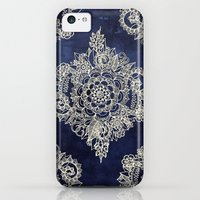 iPhone 5c Cases featuring Cream Floral Moroccan Pattern on Deep Indigo Ink by micklyn