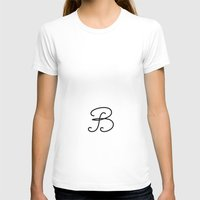 Letter  B Womens Fitted Tee White SMALL
