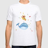 Baby whale Mens Fitted Tee Ash Grey SMALL