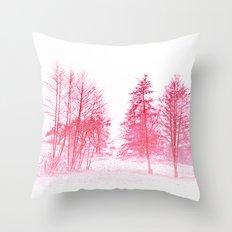 Pink winter Throw Pillow