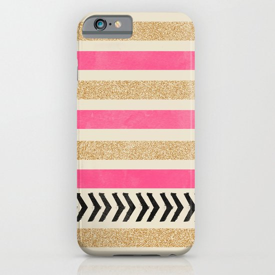 PINK AND GOLD STRIPES AND ARROWS iPhone & iPod Case