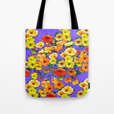 Yellow-Orange Cascading Petunias Lilac Color Art Tote Bag
