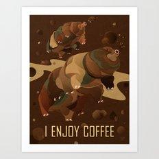 Tardigrade Enjoys Coffee Art Print