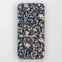 Navy Garden - floral doodle pattern in cream, dark red & blue iPhone & iPod Skin