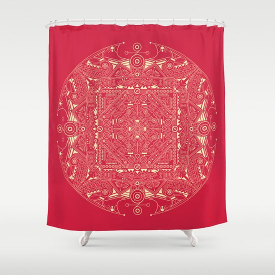 Mandala Red Amp Gold Shower Curtain By Liz Slome