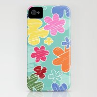 iPhone 4s & iPhone 4 Cases featuring Tropical Flowers, Petals - Pink Green Blue Yellow  by sitnica