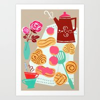 Buns, coffee and romance Art Print