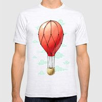 Hot Air Balloon Mens Fitted Tee Ash Grey SMALL