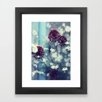 Flowers on Blue Framed Art Print