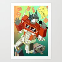 Optimus Prime DARE To Ke… Art Print