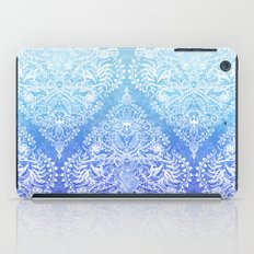 Out of the Blue - White Lace Doodle in Ombre Aqua and Cobalt iPad Case