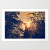 sunshine umbrella Art Print