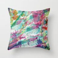 Bright Color Splash Abst… Throw Pillow
