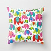 Colorful India Elephant … Throw Pillow