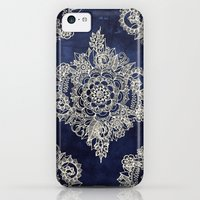 iPhone 5c Case featuring Cream Floral Moroccan Pattern on Deep Indigo Ink by micklyn