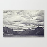 Mountain Lake Black and White Canvas Print