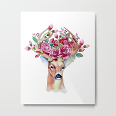 Shy watercolor floral deer Metal Print