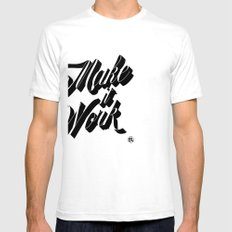 Make it Work Mens Fitted Tee SMALL White