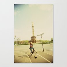Woman on Bicycle in Berlin Canvas Print