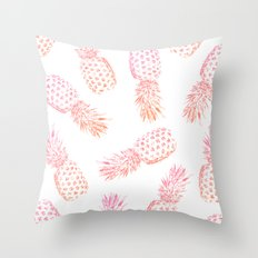 Pink Pineapples Throw Pillow