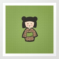 Geisha Dress Code (green) Art Print