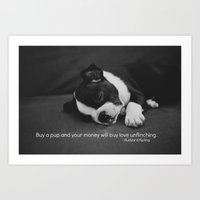 Puppy Love Rudyard Kipling Quote Art Print