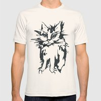 a threatening cat Mens Fitted Tee Natural SMALL