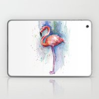 Pink Flamingo Watercolor Painting Laptop & iPad Skin