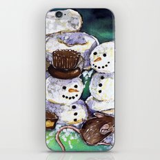 Mouse making snowman iPhone & iPod Skin