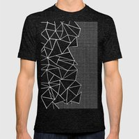 Abstract Grid Outline Wh… Mens Fitted Tee Tri-Black SMALL