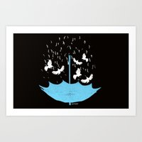 Umbrella Birds Art Print