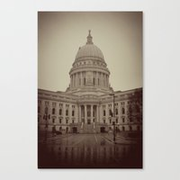 Madison Wisconsin Capital Building Architecture Sepia Photography Canvas Print