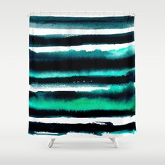 Abstract green and black painting Shower Curtain