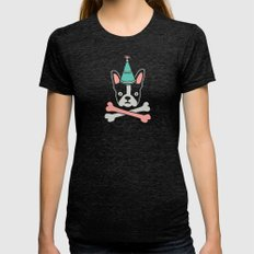 Pirate Flag Womens Fitted Tee Tri-Black SMALL