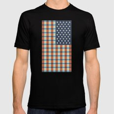 Plaid Flag. Black Mens Fitted Tee SMALL