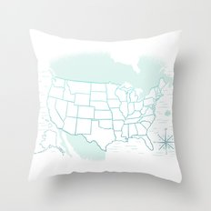 Where We've Been, USA, Icy Blue Throw Pillow