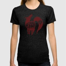The Fox's Sin of Greed Womens Fitted Tee Tri-Black SMALL