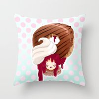 Doll faced jelly filled chocolate donut Throw Pillow