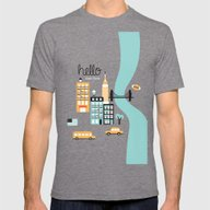 Hello New York - Retro M… Mens Fitted Tee Tri-Grey SMALL