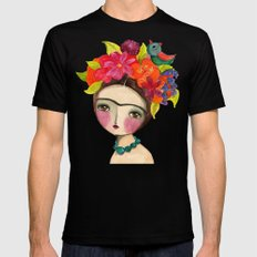 Frida And The Bird In Her Hair SMALL Mens Fitted Tee Black