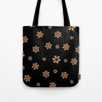 Snowflakes (Orange on Black) Tote Bag