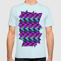 Dark Purple Mens Fitted Tee Light Blue SMALL